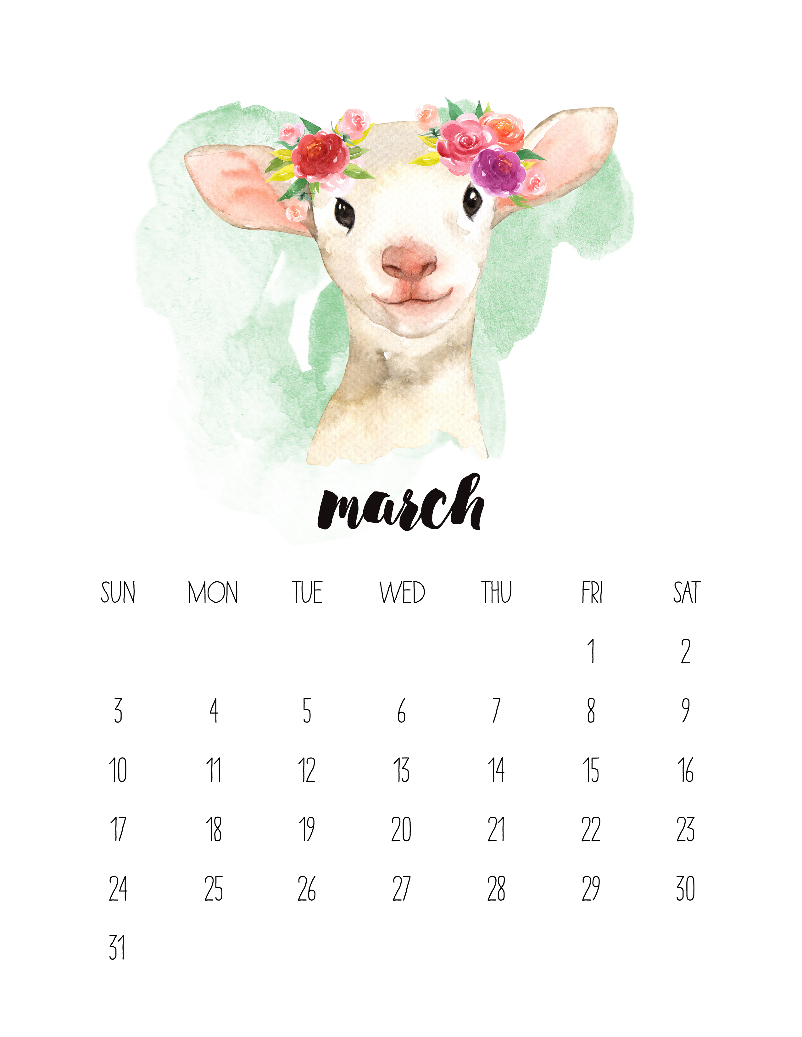 Free Printable 2019 Watercolor Animal Calendar - The Cottage Market