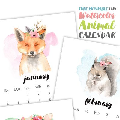 Free Printable 2019 Watercolor Animal Calendar