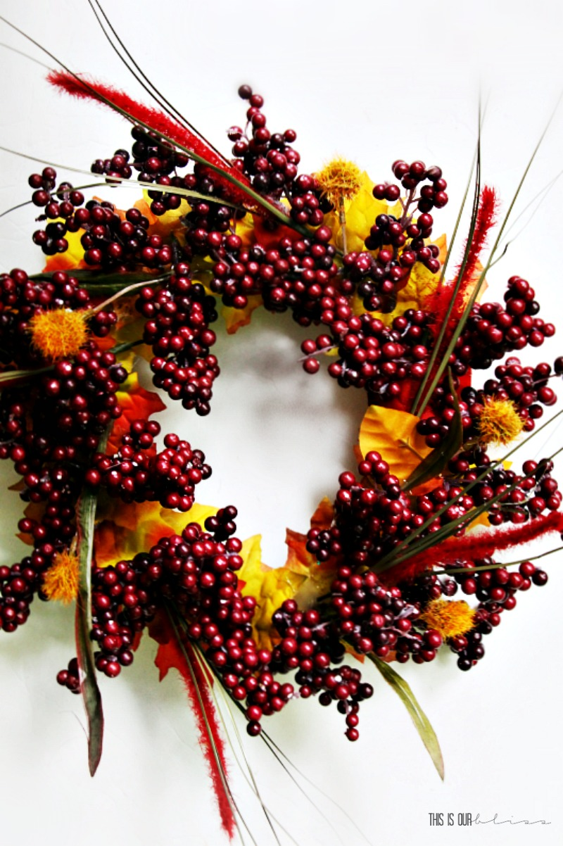 This autumn inspired wreath made with cranberries and leaves is great for fall.