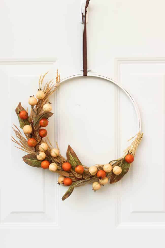 This simple DIY wreath adds a minimalist touch to the front door.