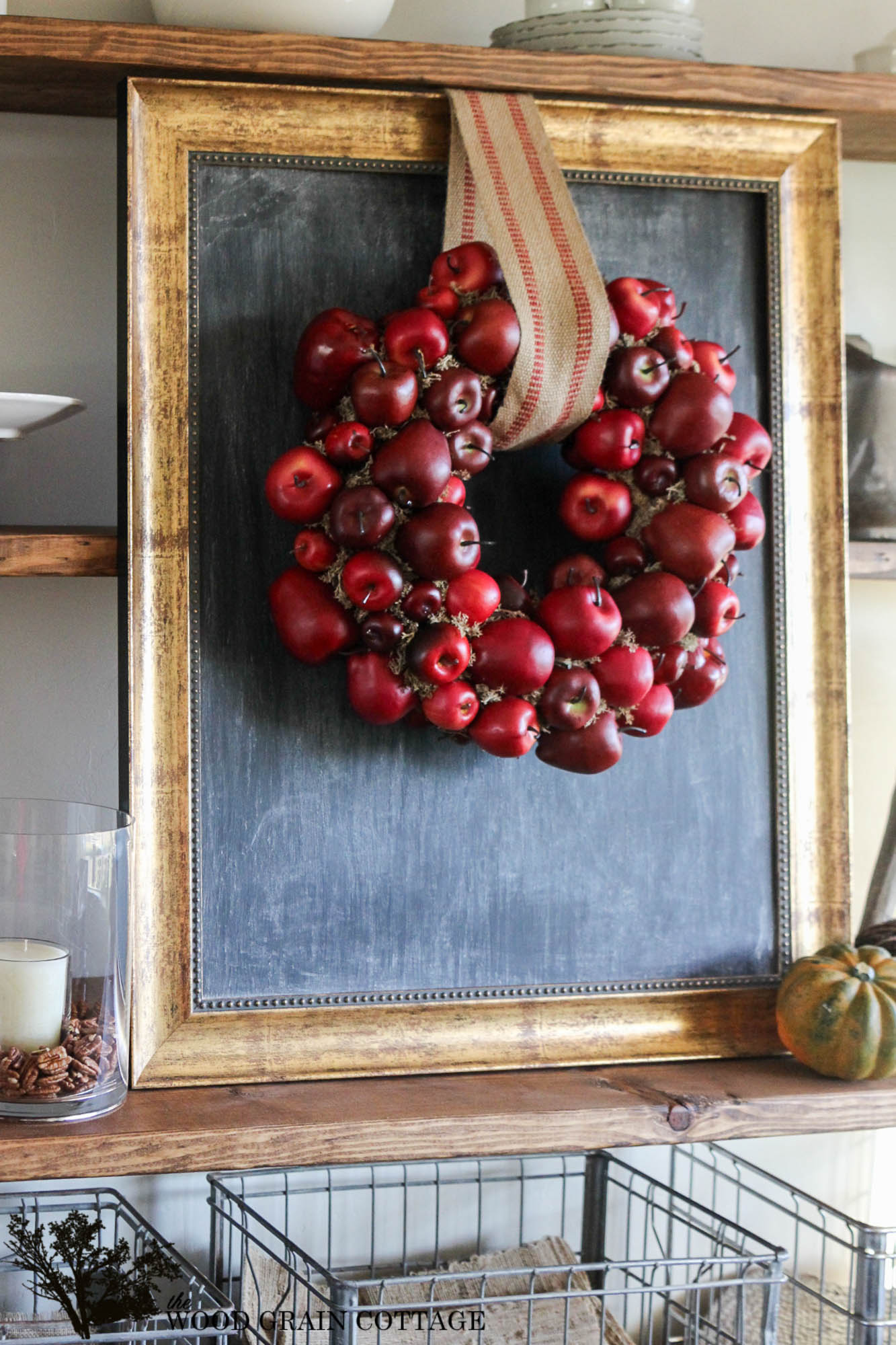 This fall wreath made from apples is unique and festive.