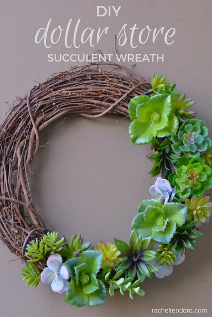 This succulent wreath made with sticks and various green plants is easy and cute.