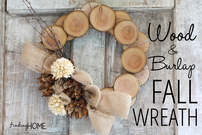 This DIY wreath made from wood and burlap is rustic and vintage for fall.