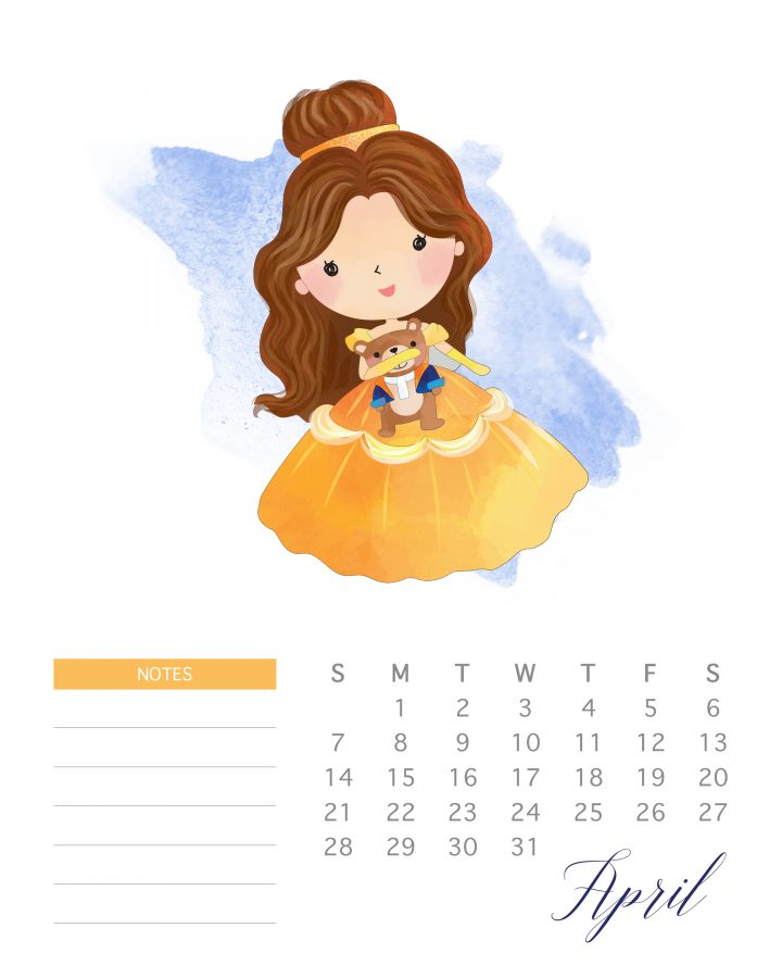 graphic relating to Printable Princess identify No cost Printable 2019 Watercolor Princess Calendar - The