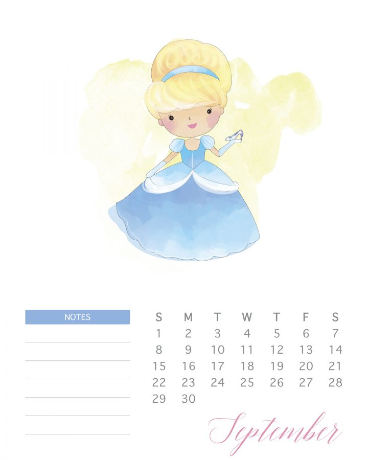 photograph relating to Disney Printable Calendar titled No cost Printable 2019 Watercolor Princess Calendar - The