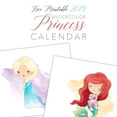 Free Printable 2019 Watercolor Princess Calendar