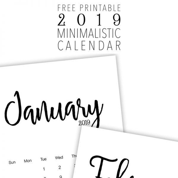 Fabulous and Free Printable 2019 Minimalistic Calendar