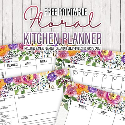 Free Printable Floral Kitchen Planner