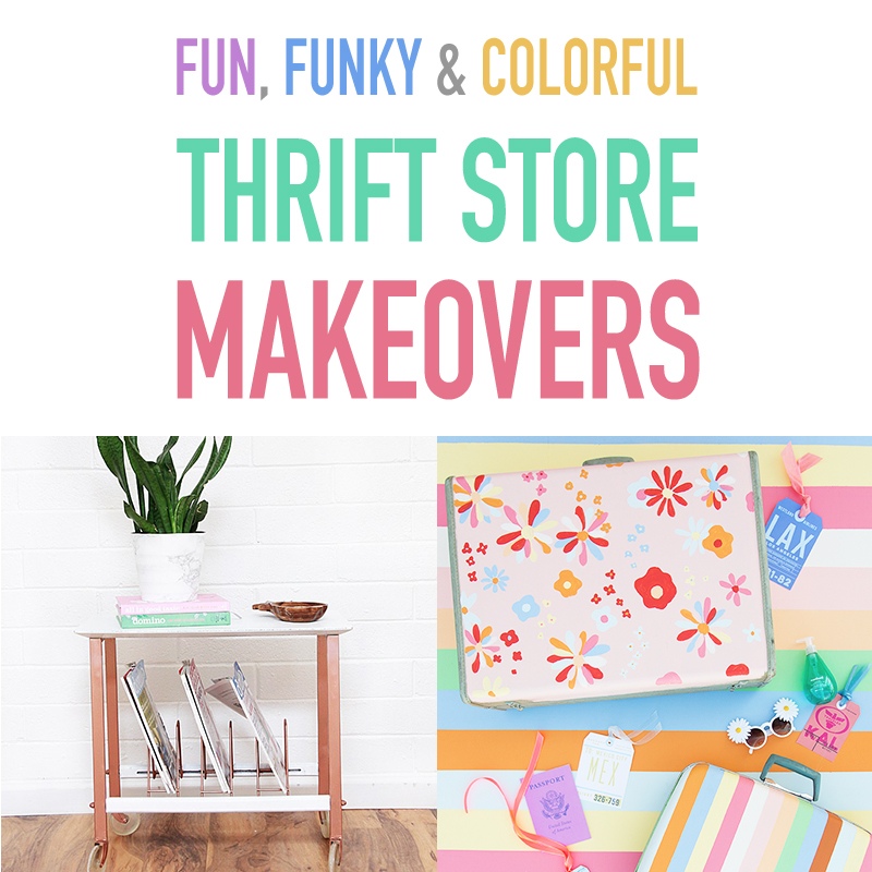 Today we are taking a look at some Fun Funky and Coorful Thrift Store Makeovers that I know you will enjoy!  All of these creations think outside the box!