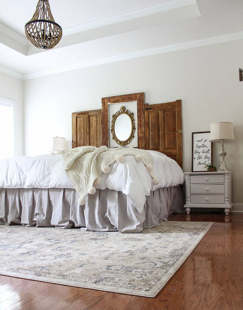 DIY Dropcloth Bedskirt No Sew Project with a Farmhouse Look!