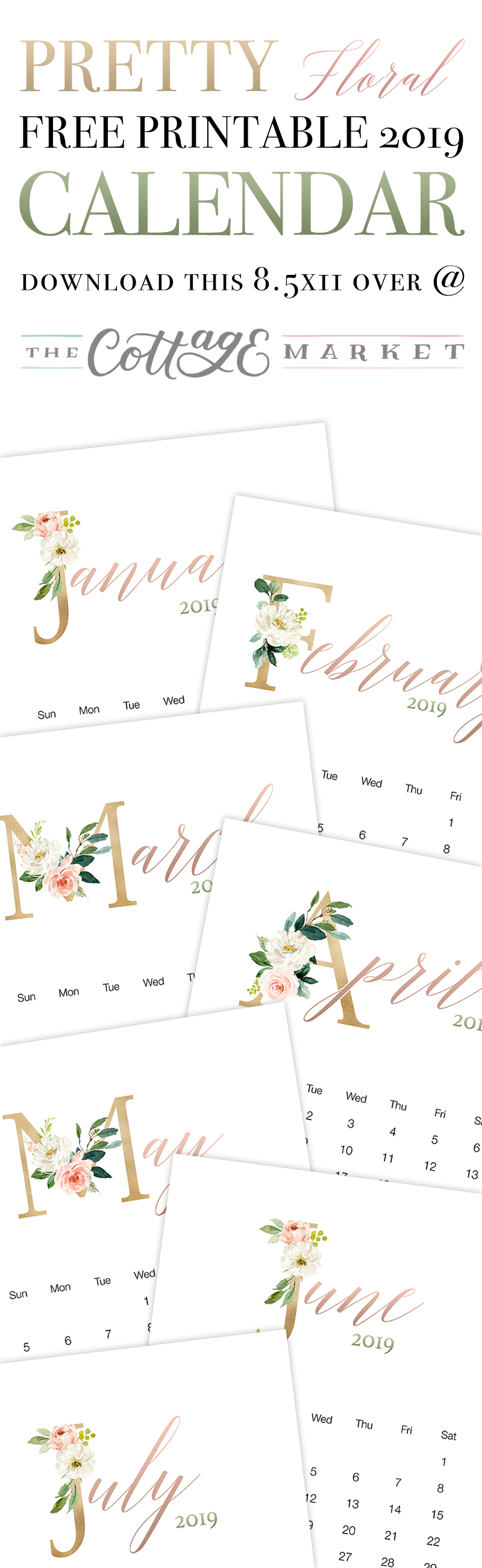 A Pretty Floral Free Printable Calendar is just what your Farmhouse Needs!