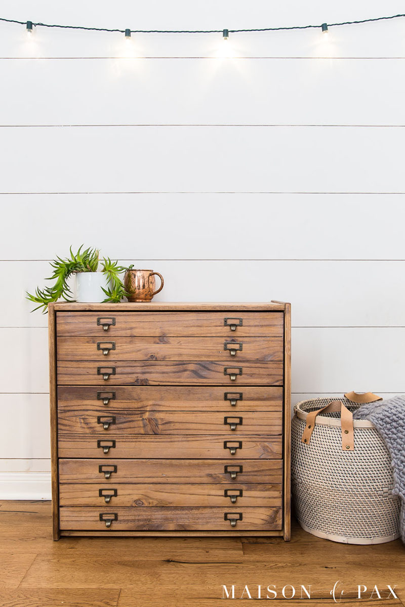Farmhouse Antique Printers Cabinet IKEA Hack that looks like it is from Pottery Barn
