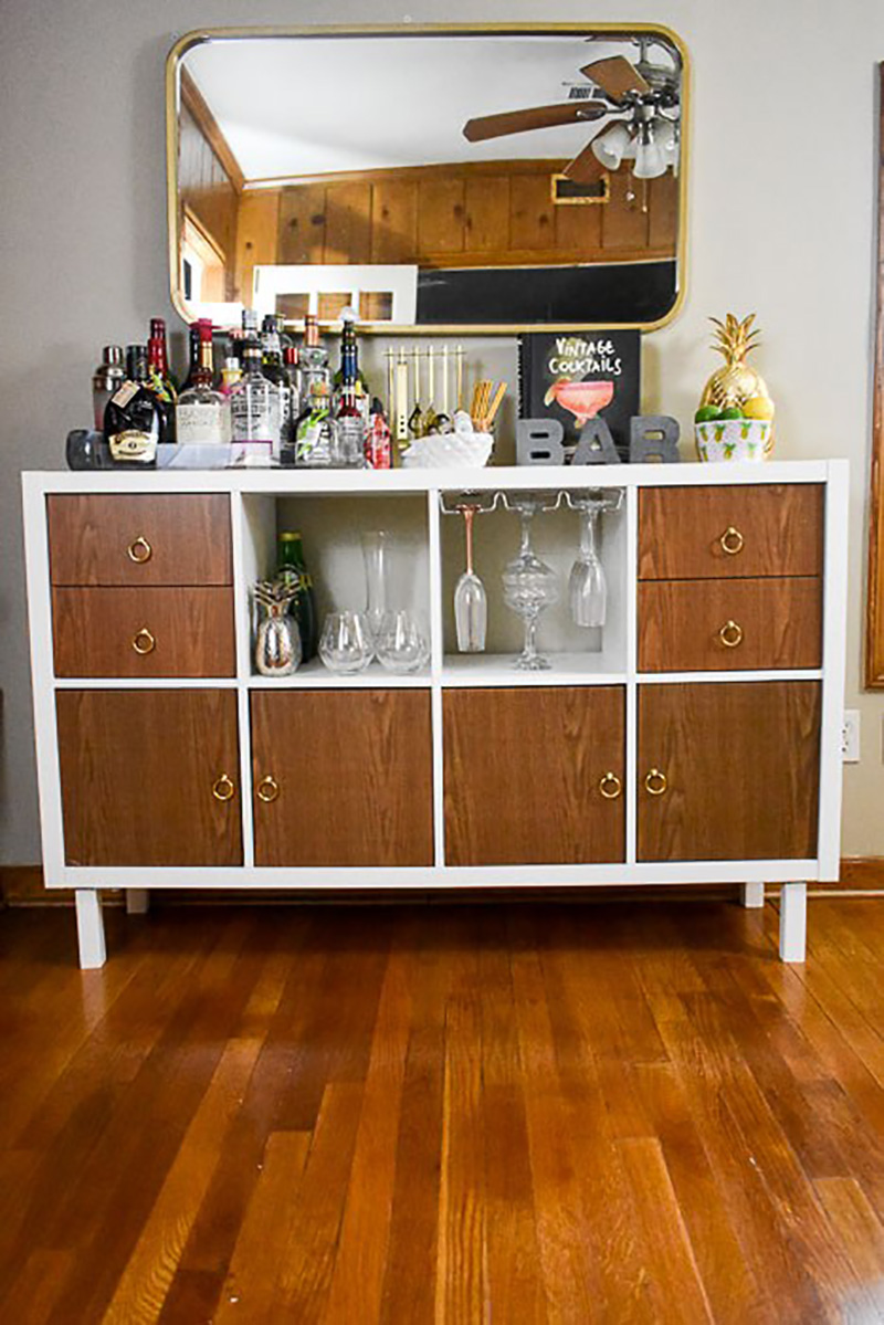 This gorgeous DIY Bar Cart IKEA Hack can be made in a day and then serve your guests at night!