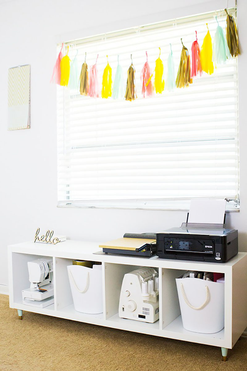Turn that IKEA Kallax into a Sewing Room Sideboard!  This IKEA hack is quick and easy!