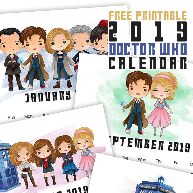 Attention all Whovians... come on in and snatch your Free Printable 2019 Doctor Who Calendar. You are going to so enjoy this whimsical calendar!