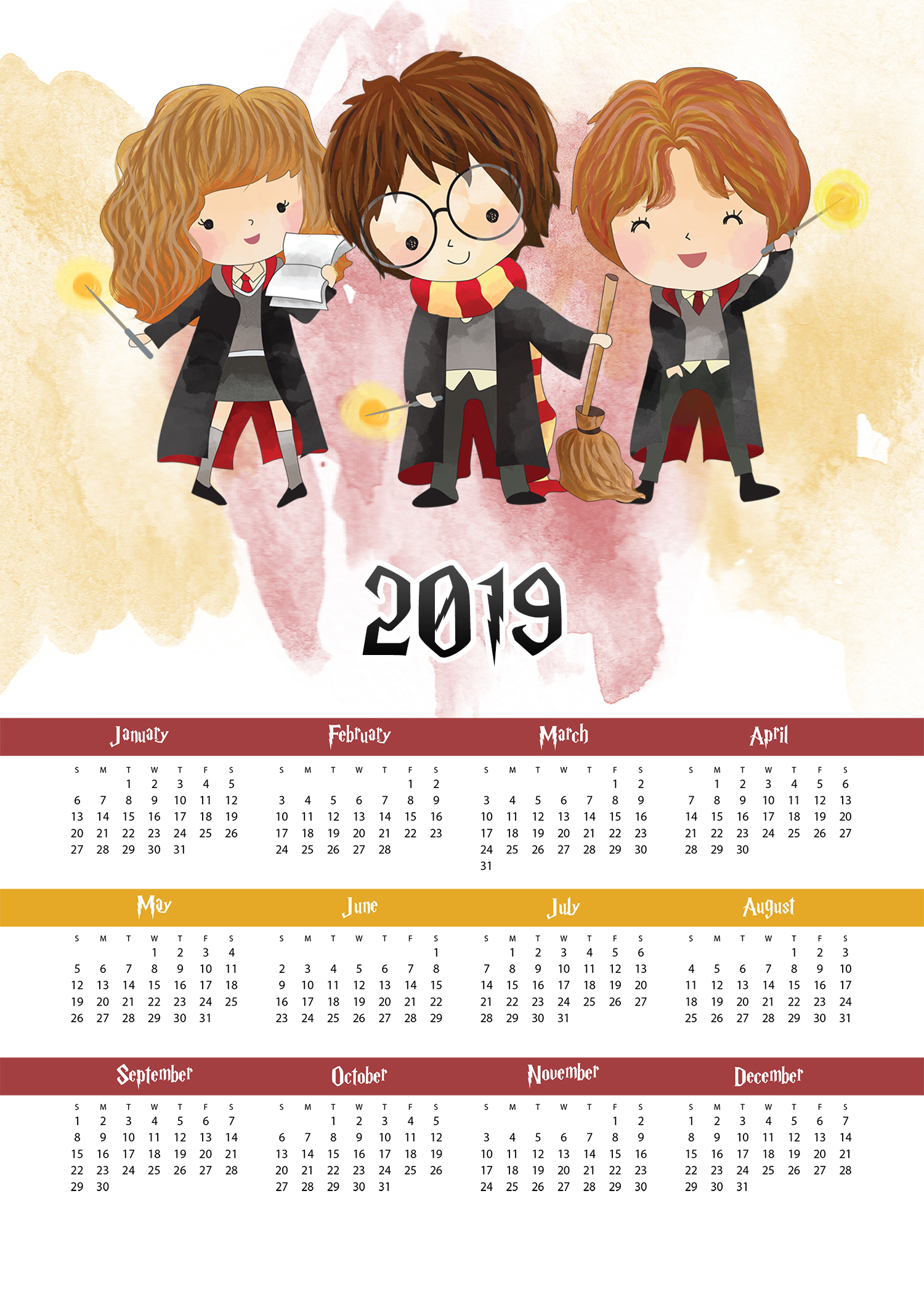 Free Printable 2019 Harry Potter One Page Calendar - The ...