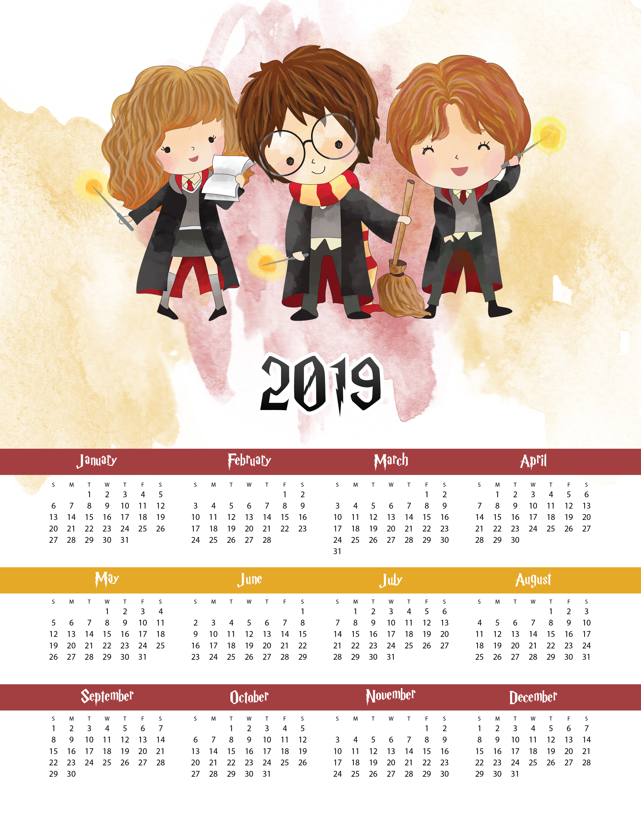 free printable 2019 harry potter one page calendar