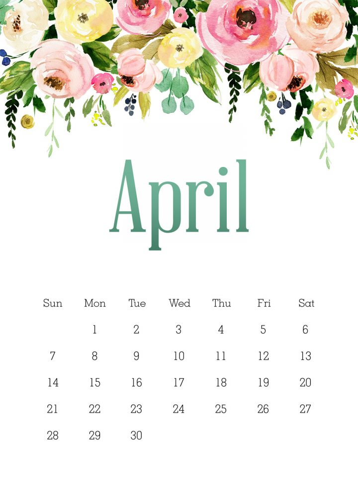 This Free Printable Floral Calendar is waiting for you to print out and use all year long!  The best part is it comes with a Note Pad, Shopping List and ore!