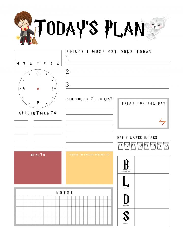graphic about Printable Daily to Do List named Harry Potter No cost Printable Each day Planner - The Cottage Current market