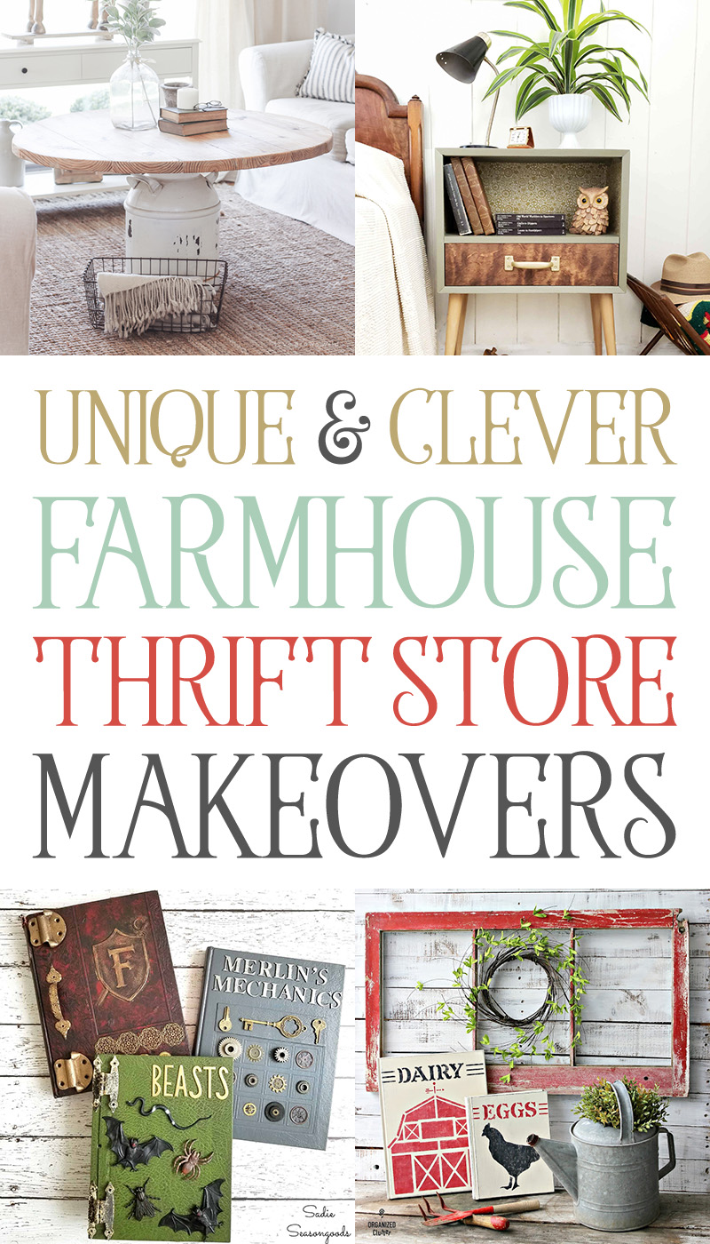 Come on in and check out some Unique and Clever Farmhouse Thrit Store Makeovers! Some of them look like they walked out the front door of Pottery Barn!