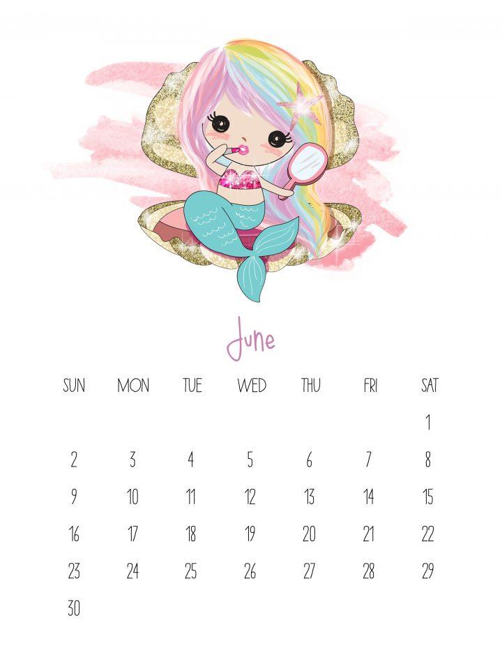 Free Printable 2019 Kawaii Mermaid Calendar The Cottage Market