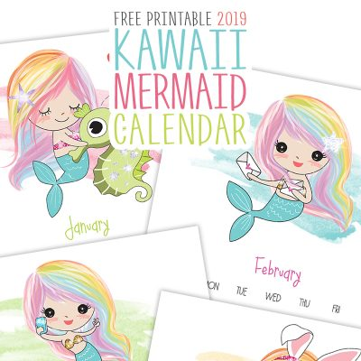 Free Printable 2019 Kawaii Mermaid Calendar