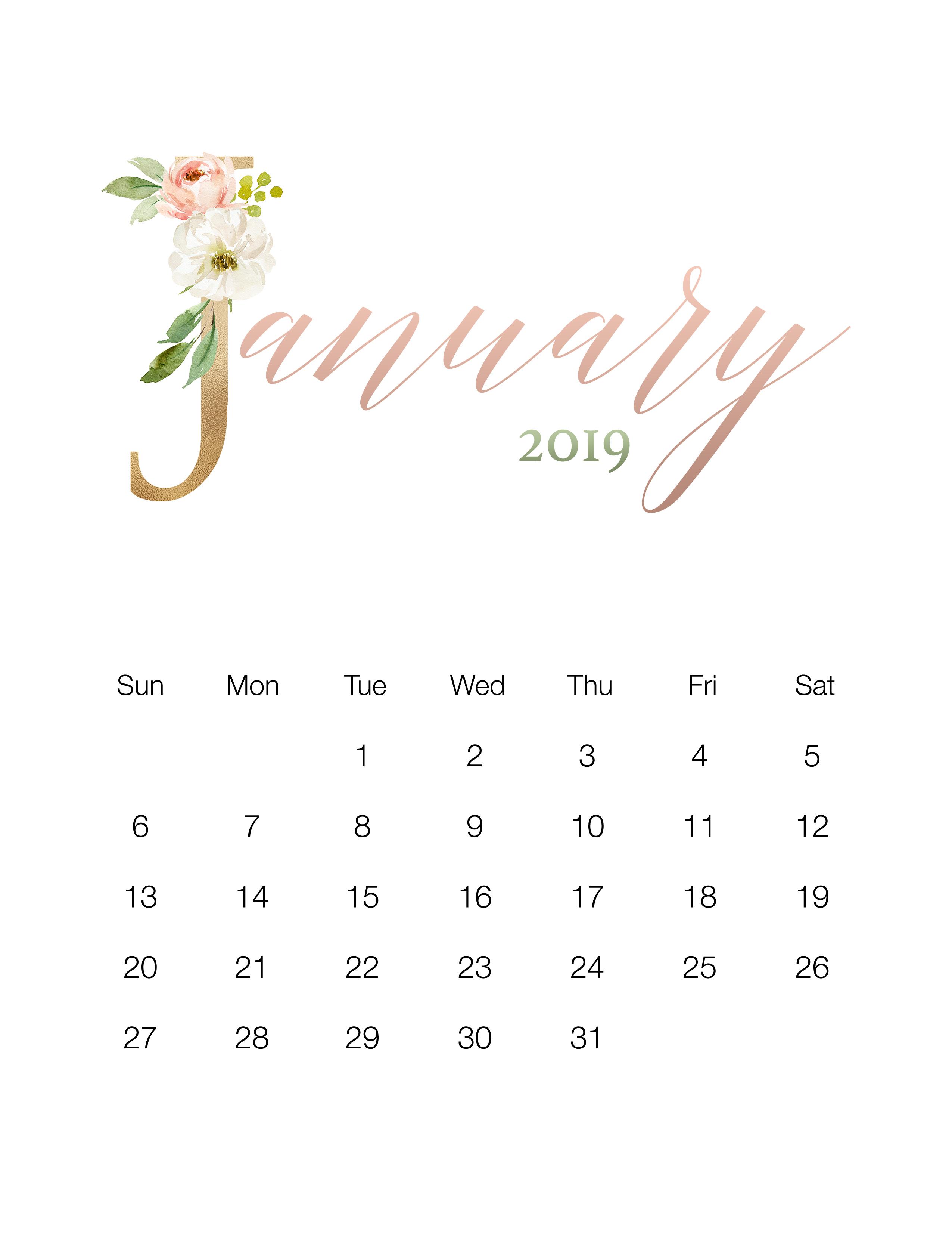 Pretty Floral Free Printable 2019 Calendar The Cottage Market