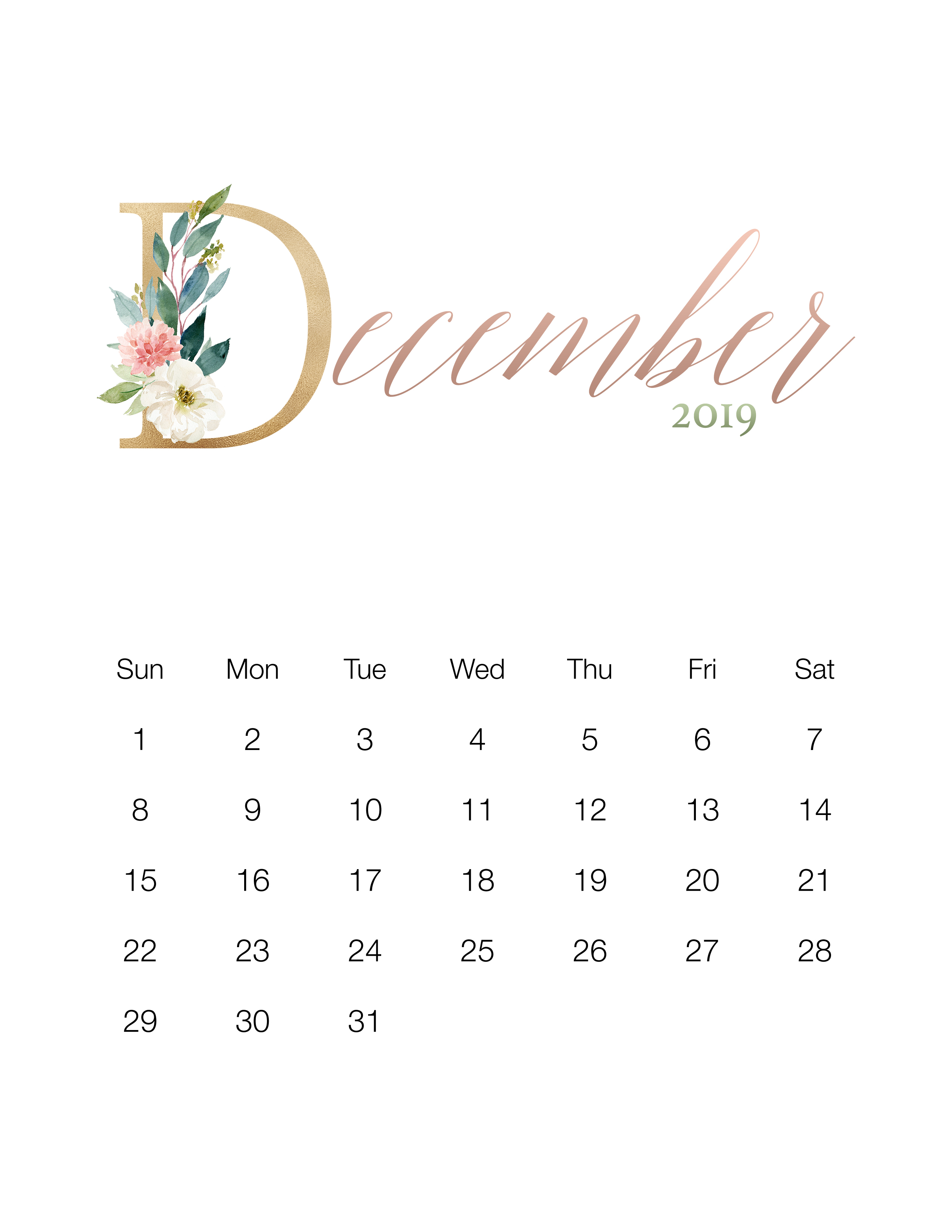 Beautiful November December 2019 Calendar Pretty Floral Free Printable 2019 Calendar   The Cottage Market