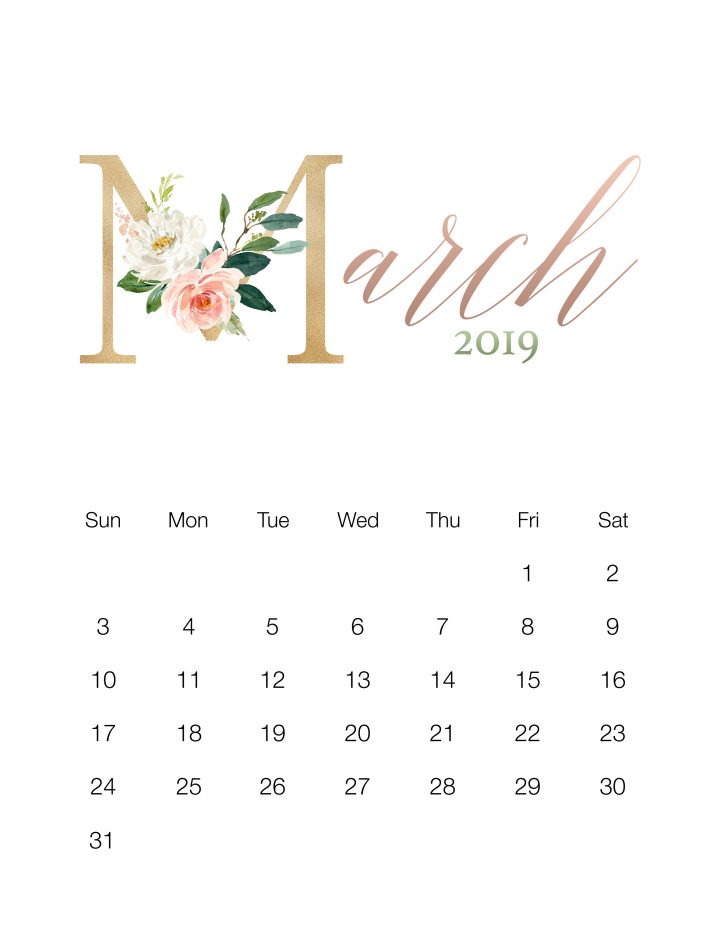 image relating to Pretty Printable Calendar titled Attractive Floral Totally free Printable 2019 Calendar - The Cottage Industry