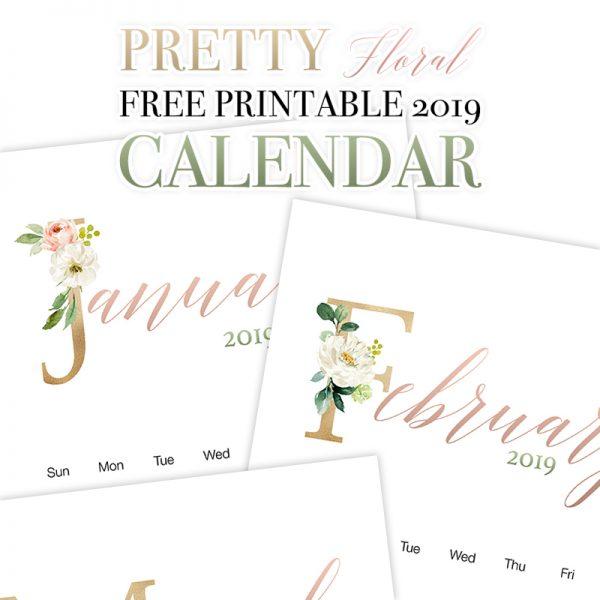 Pretty Floral Free Printable 2019 Calendar