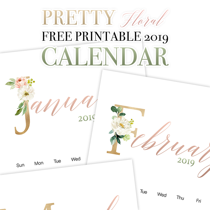 graphic about Pretty Printable Calendar titled Charming Floral Absolutely free Printable 2019 Calendar - The Cottage Current market