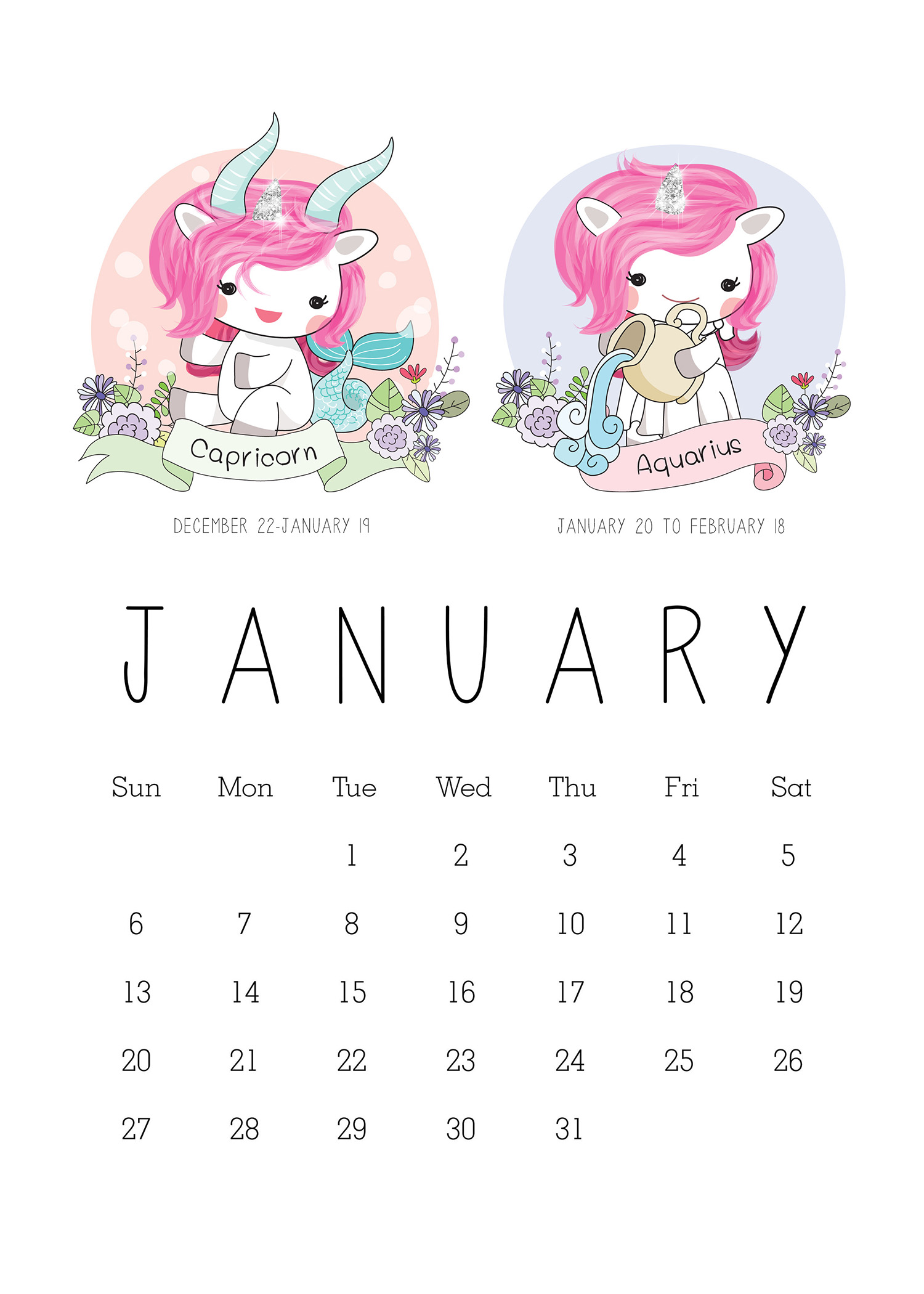 Free Printable 2019 Zodiac Sign Kawaii Unicorn Calendar ...