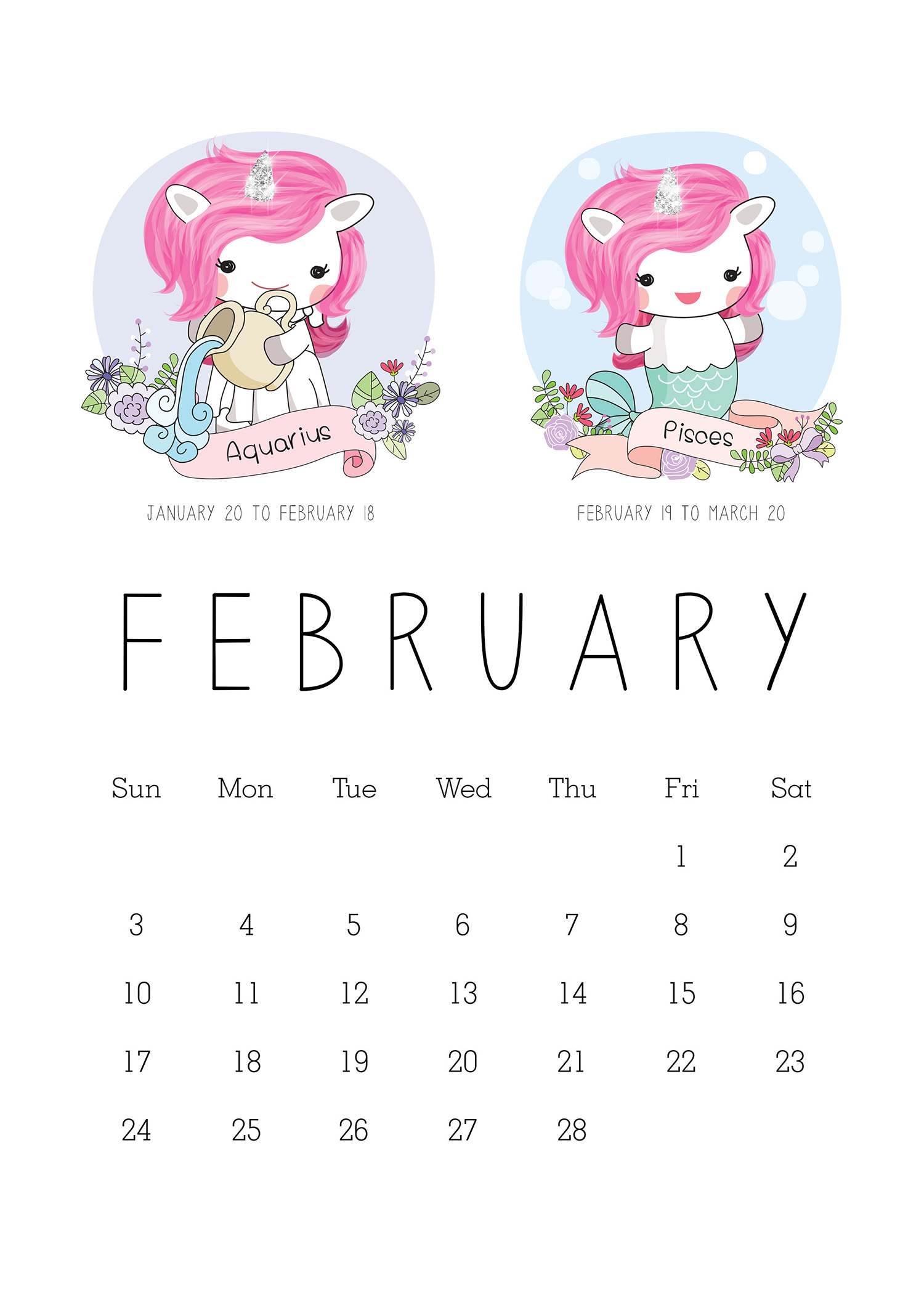 Free Printable Unicorn Calendar 2019