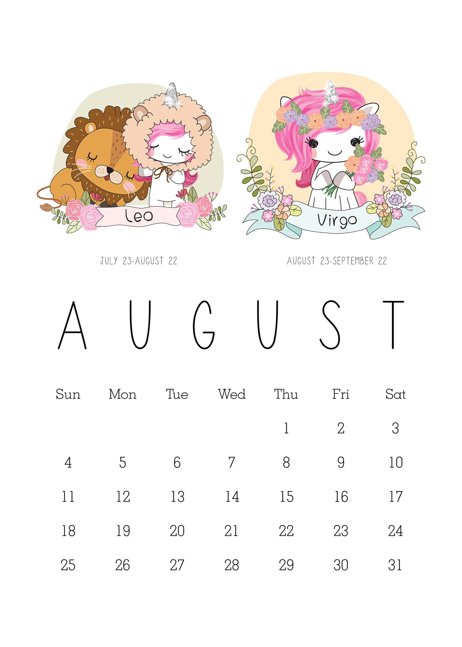 free printable 2019 zodiac sign kawaii unicorn calendar