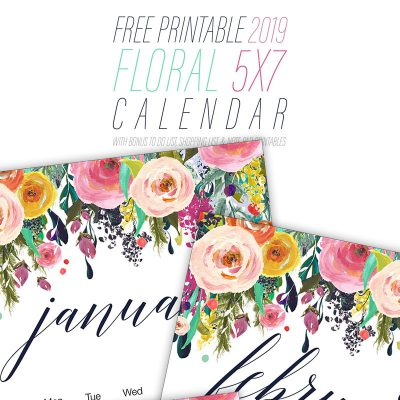 Free Printable 2019 Floral Calendar + Shopping List, To Do List, and Note Pad!