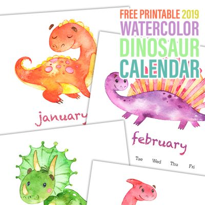 Free Printable 2019 Watercolor Dinosaur Calendar