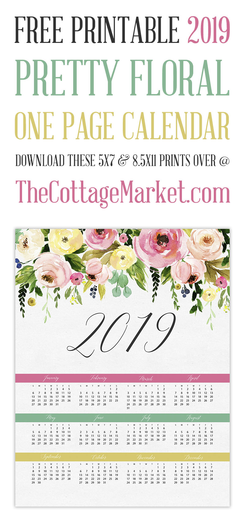Free Printable 2019 Pretty Floral One Page Calendar - The