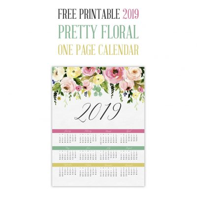 Free Printable 2019 Pretty Floral One Page Calendar