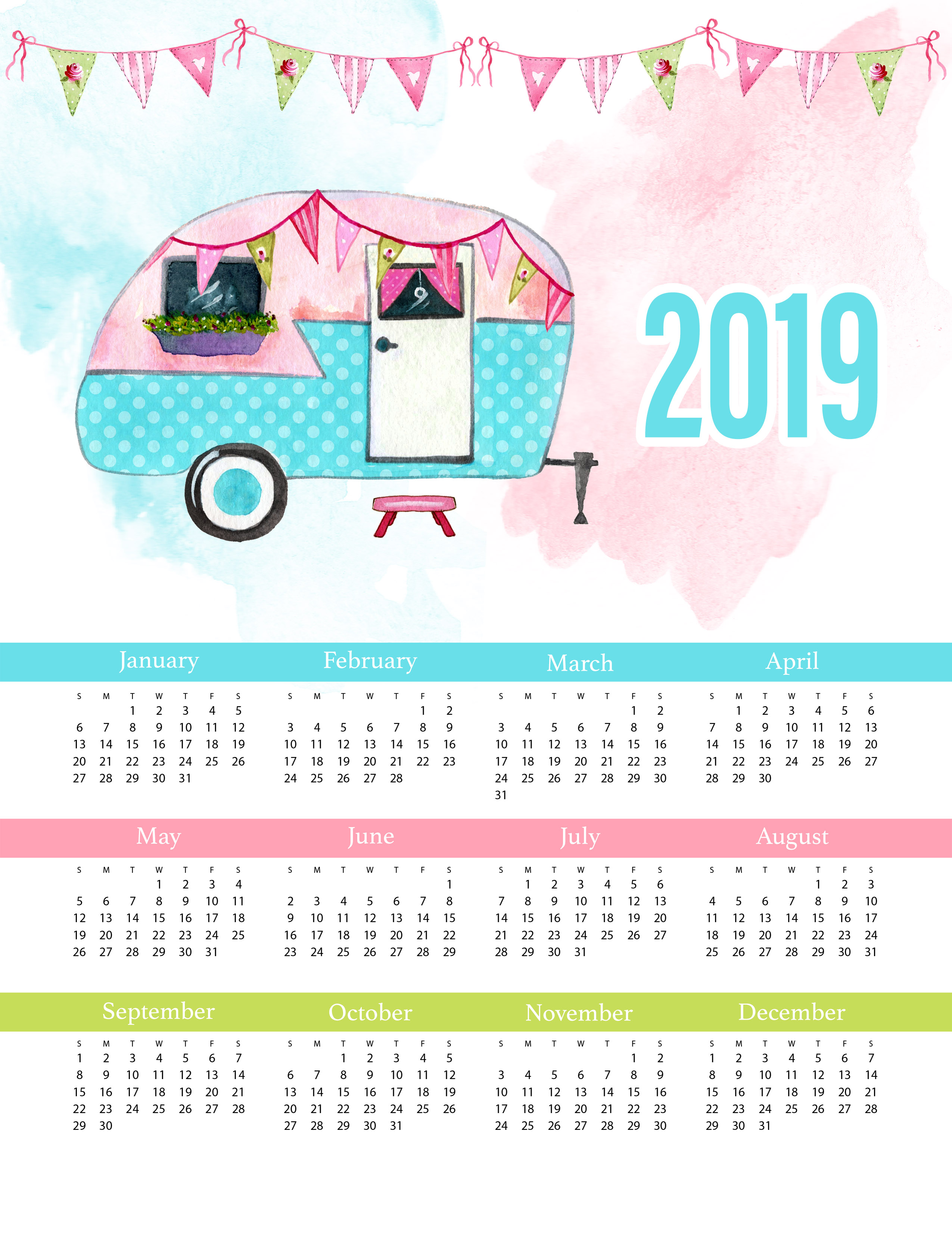 2019 Calendar One Page.Free Printable 2019 Glamping One Page Calendar The Cottage Market