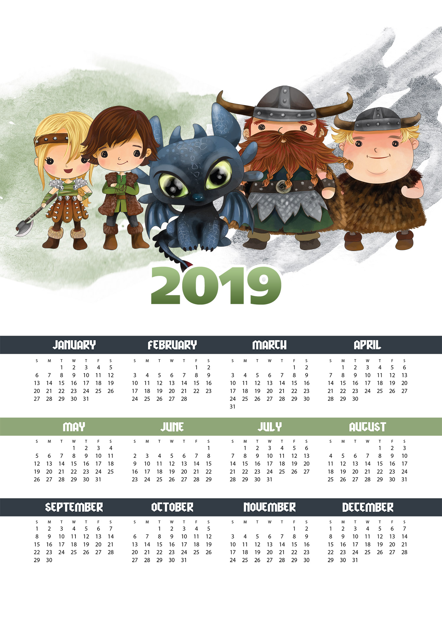 Free Printable 2019 How to Train Your Dragon One Page ...