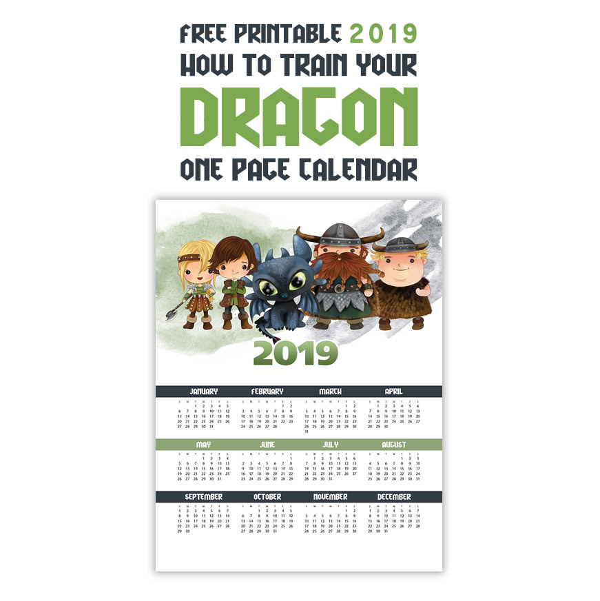 Free Printable 2019 How To Train Your Dragon One Page Calendar The