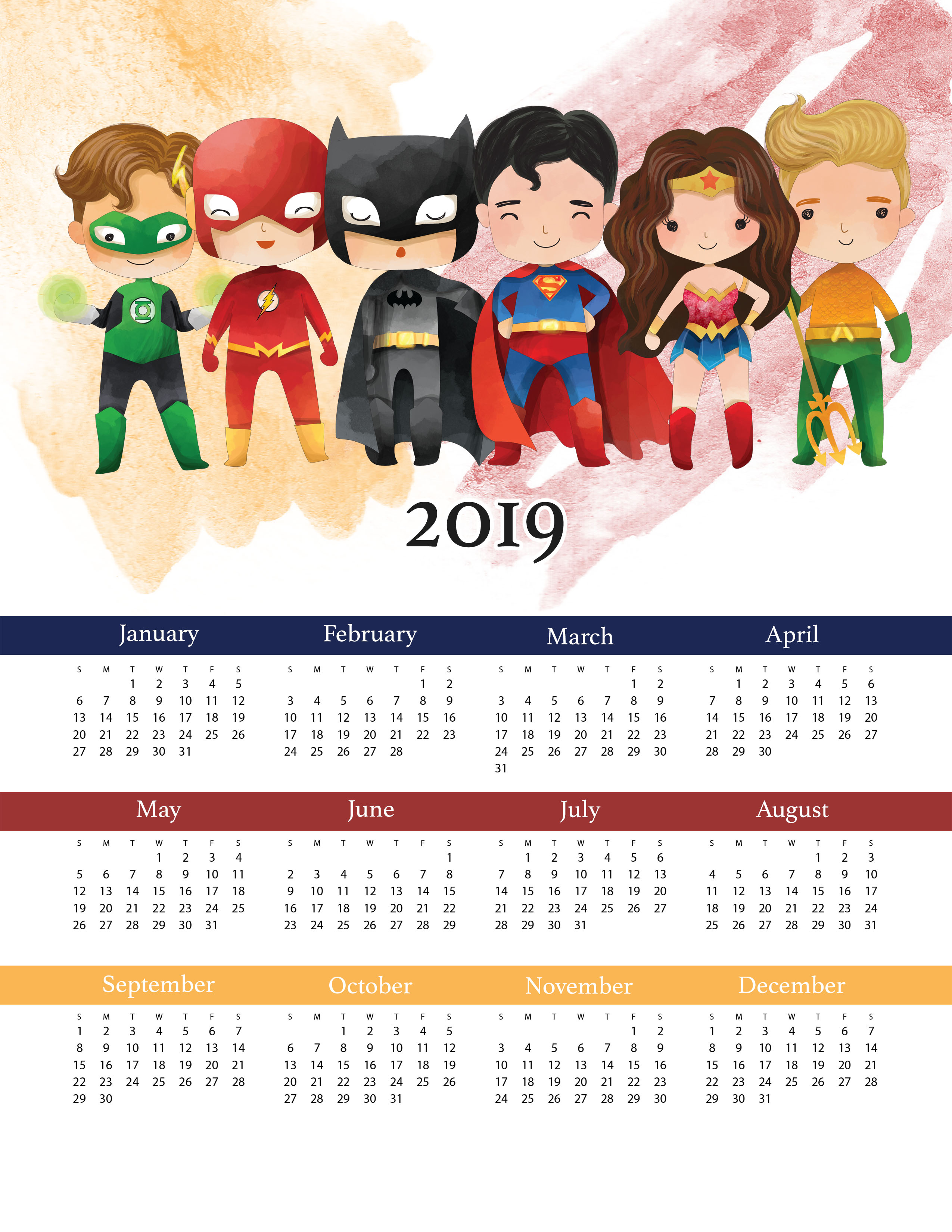 Free Printable 2019 Justice League One Page Calendar ...