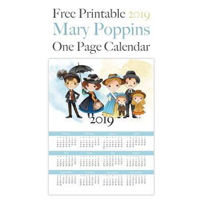 Free Printable 2019 Mary Poppins One Page Calendar