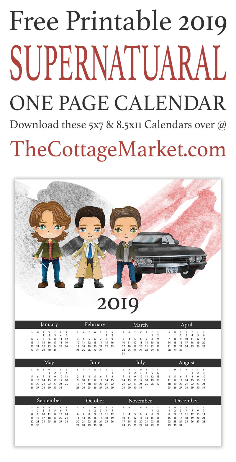 This Supernatural Free Printable Calendar is all yours with just a click of a key and a printer! Enjoy Dean, Sammy, Cas and Baby all year round!