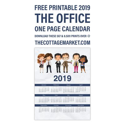 Free Printable 2019 The Office One Page Calendar