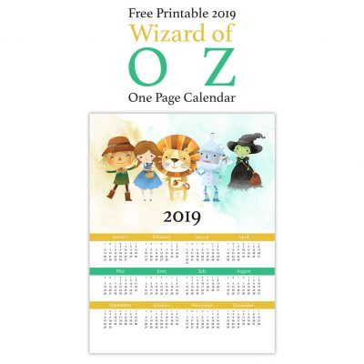 Free Printable 2019 Wizard of Oz One Page Calendar