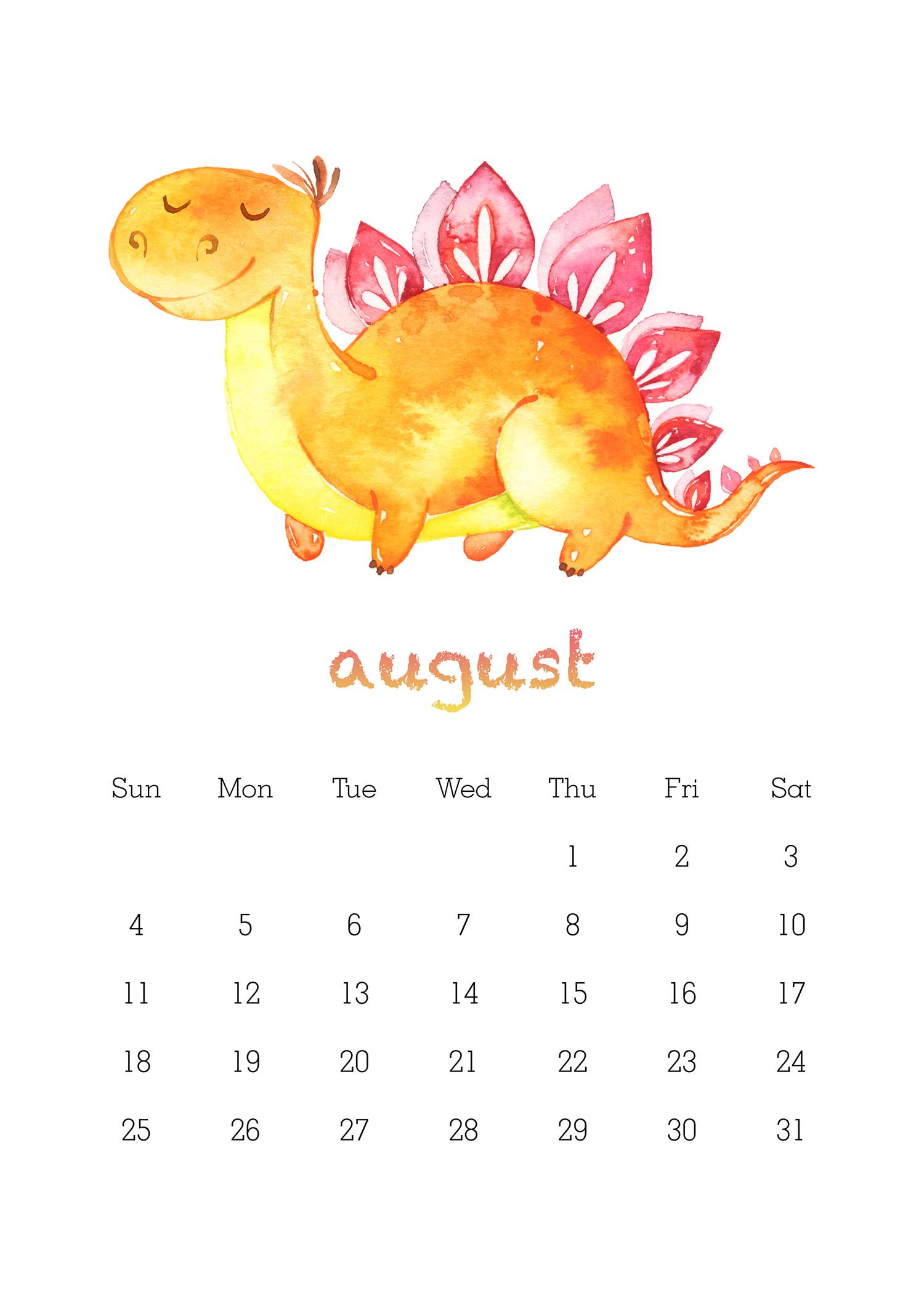 Free Printable 2019 Watercolor Dinosaur Calendar - The ...