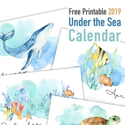 Free Printable 2019 Under the Sea Calendar