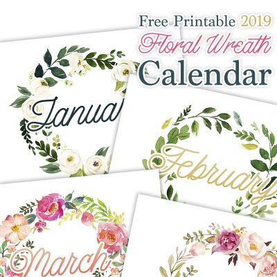 Free Printable 2019 Floral Wreath Calendar