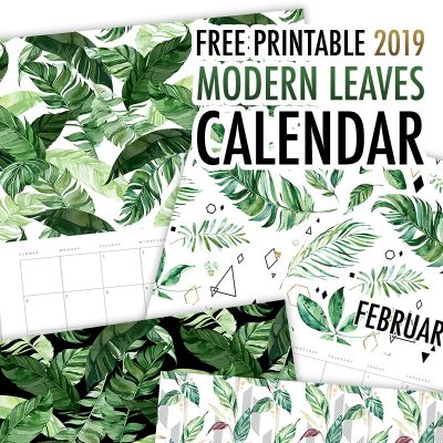 Free Printable 2019 Calendar Modern Leaves